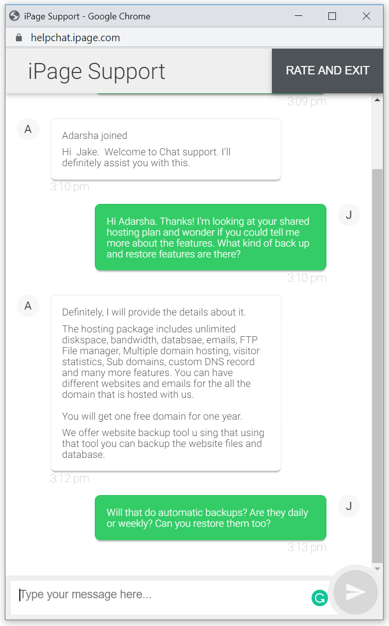 ipage review support live chat