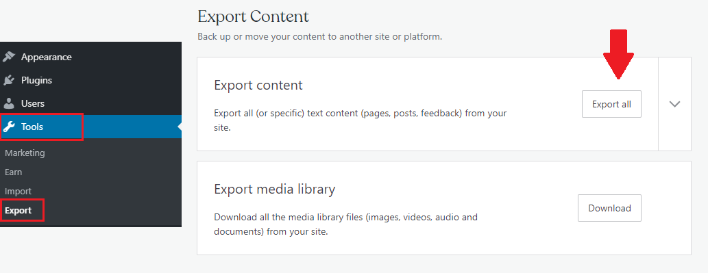 wordpress.com export