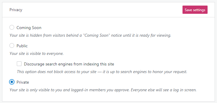 wordpress privacy setting