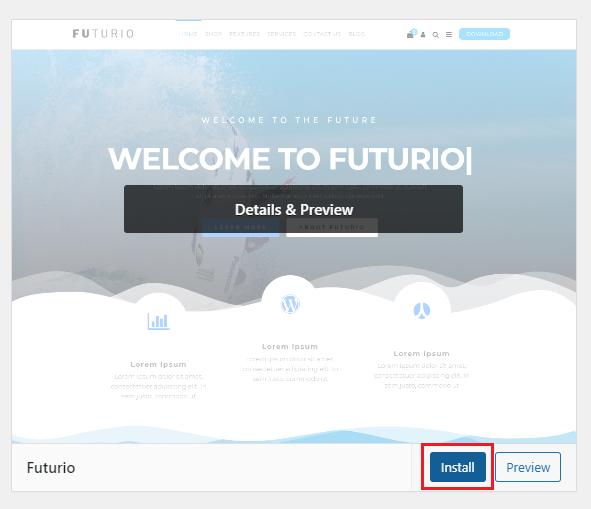 installing a theme on wordpress