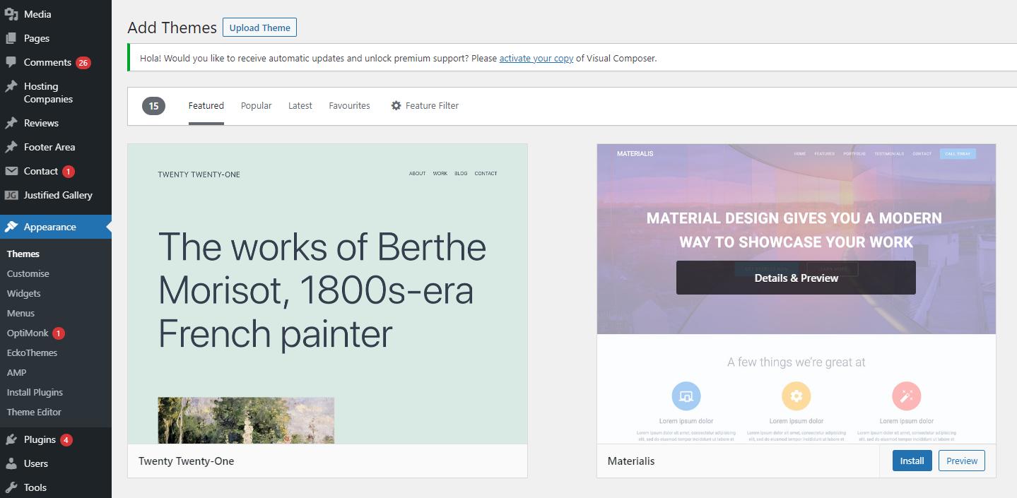 wordpress themes add new