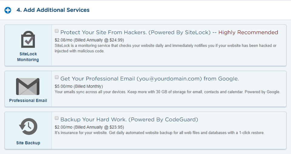 HostGator Add Additional Services