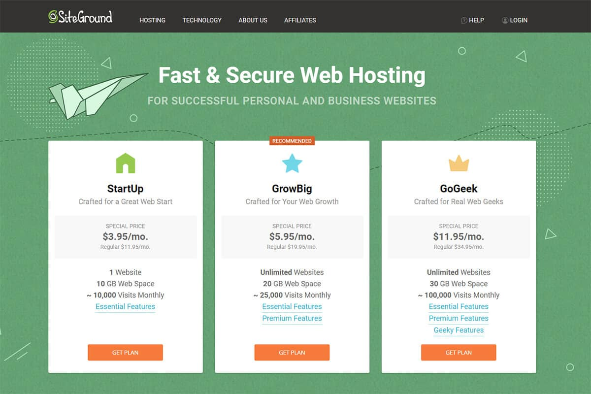 Select SiteGround Hosting Plan
