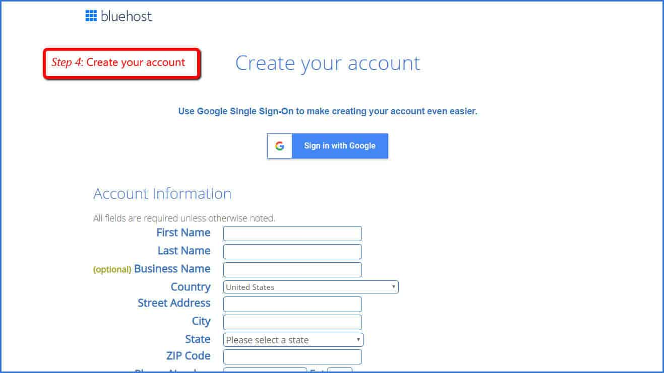 create your account at bluehost