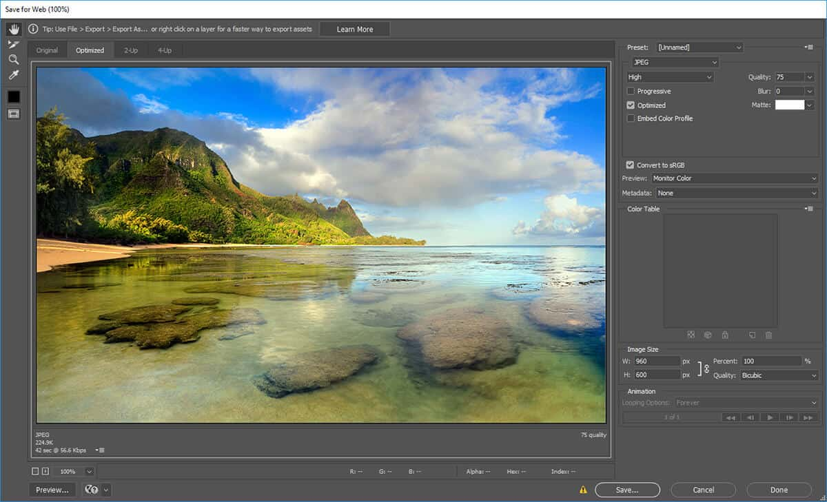how to optimize photos for web in photoshop