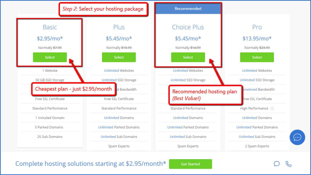 select bluehost package