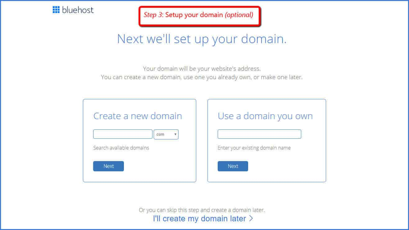 setup your domain on bluehost